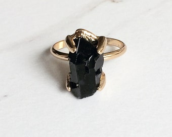 Black Crystal Ring, Raw Brass, Stone Ring, Boho Jewelry