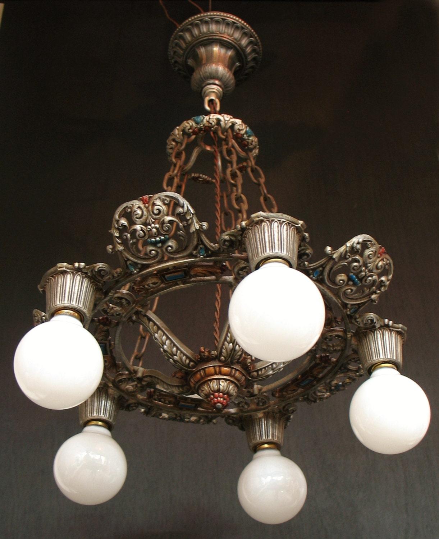 Antique Lighting 1920s Five Light Polychrome Bulb Style