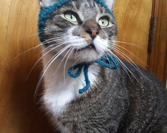 Pom Pom Cat Hat, knit hat for cat