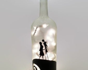 Nightmare Before Christmas Wine Bottle Lamp / Jack and Sally / Wedding / Anniversary