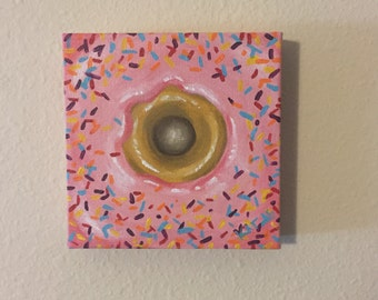 Pink Donut With Sprinkles Painting