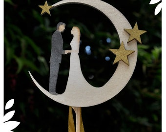 Bride & Groom in the Moon – Wedding Cake Topper / Keepsake.