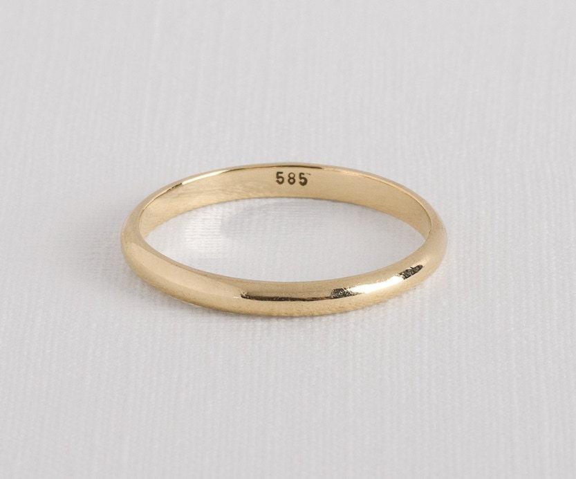 dainty gold ring thin gold ring gold wedding band yellow