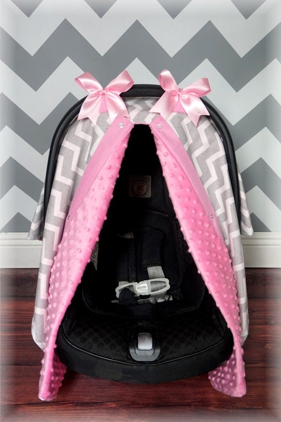 Light Grey And Baby Pink Chevron Minky Carseat Canopy The