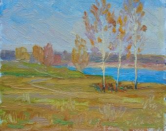 VINTAGE OIL RIVERSCAPE Original Oil Painting by Skobelsky N. 1980s River Painting Lake Painting Ukranian Art Fine Art One of a Kind