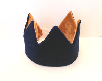 Gold and Blue velvet reversible crown. Boy's or Girl's birthday crown. Dress up crown