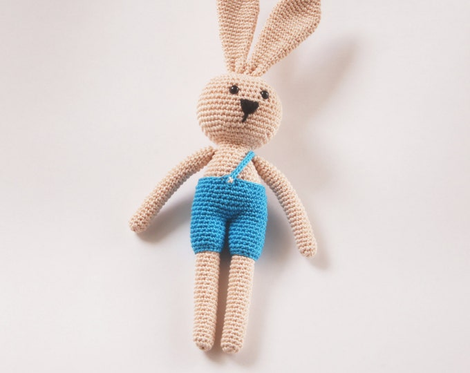 Crochet Toy Doll Amigurumi Forest Animal Bunny Rabbit Stuffed Toy Present Gift for Boy Girl Handmade