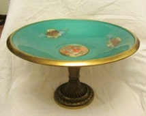 Brass and Green Enamel Pedestal Dish/Bowl/Compote - Fruit Design/Motif - Made in Israel - Very Good Condition