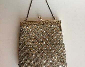 Vintage Walborg beaded sequin silver purse