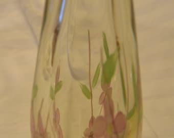 Sweet Pink Flowered Murano Bud Vase