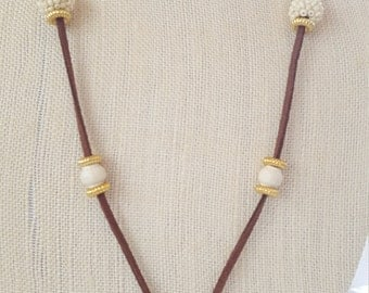 Suede and Howlite cross necklace