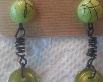 Lime spring earrings