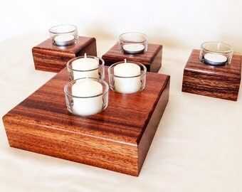 Exotic Wood Candle Holders Set of 4 - Solid African Sapele Anniversary Gift - Gift for Her - Christmas Gift - Table Centerpiece