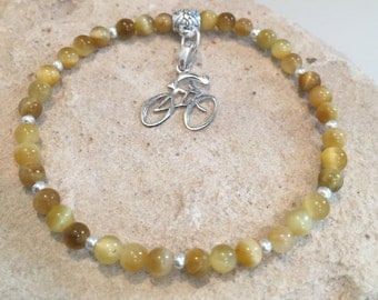 Amber bracelet, bracelet for cyclist, bracelet for athlete, tiger eye bracelet, charm bracelet, stretch bracelet, bike charm