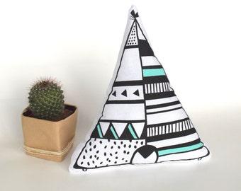 Teepee Tipi Tipee Native American Cushion Black Mint, Nursery Cushion, Kids Cushion, Teepee design, Pillow, Geometric, Kids design
