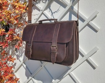 Leather Messenger Bag - Leather Briefcase - 15 inch Laptop Business Bag. Genuine Brown Leather. Handmade in Greece. 4 Colors Available.