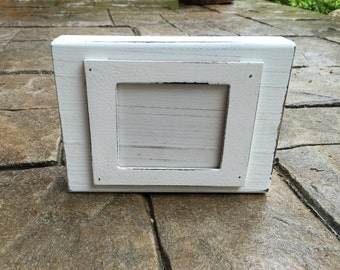 Natural Distressed White Wood Block Picture Frame- Mud
