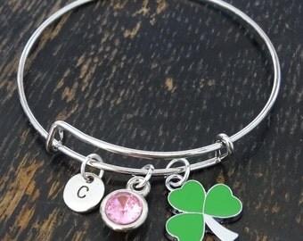 Shamrock Bangle Bracelet, Adjustable Expandable Bangle Bracelet, Shamrock Charm, Shamrock Pendant, Shamrock Jewelry, Three Leaf Clover
