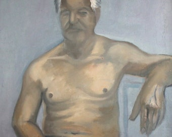 Vintage oil painting sitting man portrait