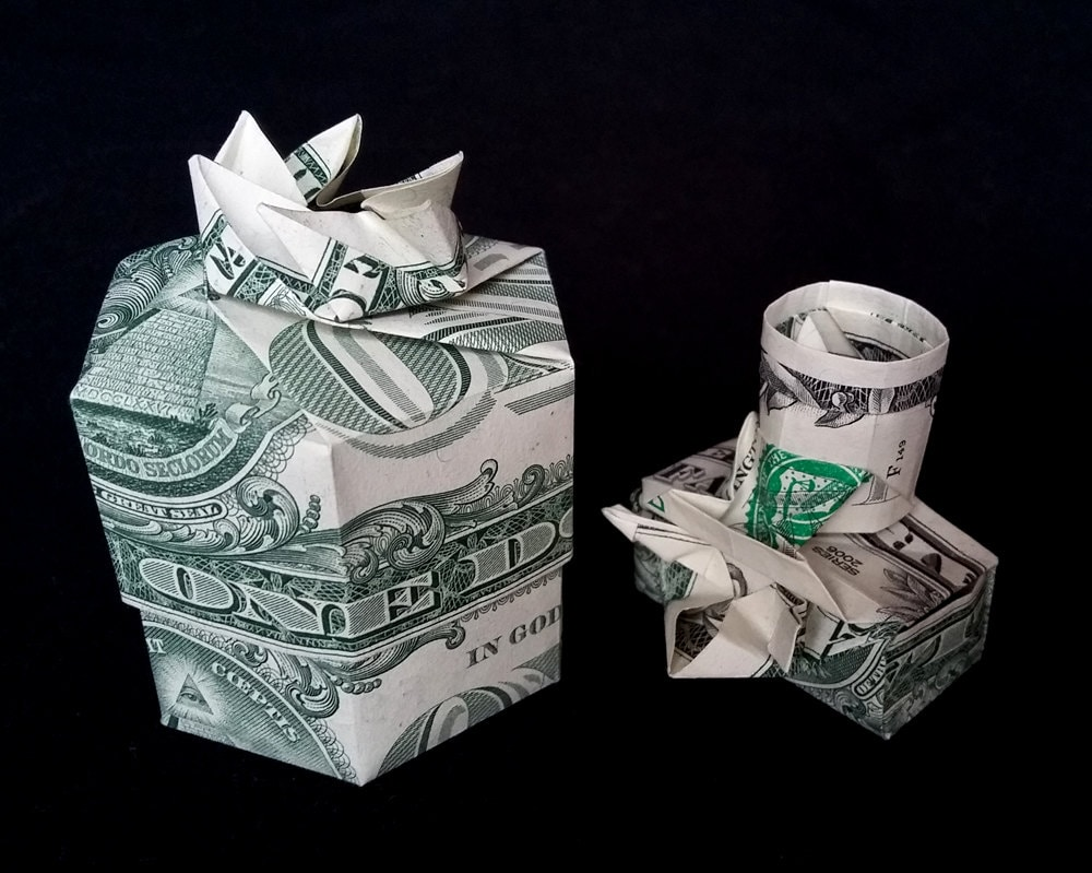 Money Origami GIFT BOX with Lid for Camera Made out of Two - photo#47