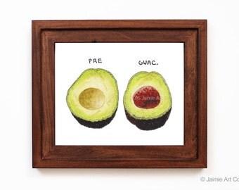 Avocado Art Print, Food Art, Kitchen Art, Restaurant Decor, Food Wall Art, Watercolor Illustration, Wall Decor, Frameable Art