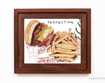 In N Out Burger Art Print, Food Art, Kitchen Art, Restaurant Decor, Food Wall Art, Watercolor Illustration, Wall Decor, Frameable Art