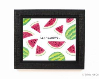 Watermelon Art Print, Food Art, Kitchen Art, Restaurant Decor, Food Wall Art, Watercolor Illustration, Wall Decor, Frameable Art