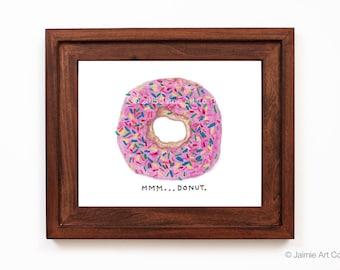 Donut Art Print, Food Art, Kitchen Art, Restaurant Decor, Food Wall Art, Watercolor Illustration, Wall Decor, Frameable Art
