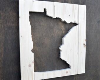 Minnesota State Wood Silhouette Cutout