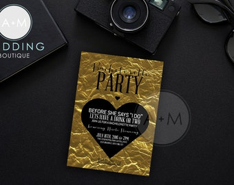 Bachelorette Party Invitations // DIGITAL // Customized // 5x7 // NICOLE // GOLD Foil Look // Black on Gold