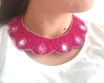 Fuchsia beaded necklace