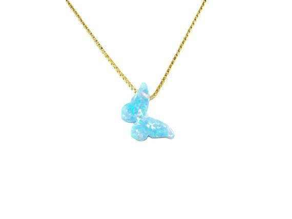 Blue Butterfly Jewelry: Blue Butterfly Necklace. Opal Butterfly Necklace