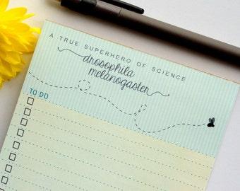 Drosophila TO DO LIST Notepad | A True Superhero of Science | Fruit Fly Stationary | Biology Chemistry | Teacher Student Scientist Professor