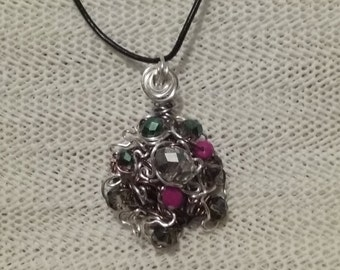 "Wire Jewelry, Handmade- Crystal, Silver, Bronze, Design, Pendant Necklace (L-18"")"