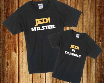 Jedi Father and Son set/ Jedi Master Tshirt set/ Jedi Tshirt/ Jedi youth Tshirt/ Jedi Master Tshirt/ Star wars Tshirt