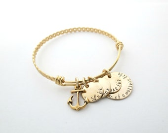 Personalized Bangle - Sons are the Anchor - Mothers Bracelet - Gold Bangle - Anchor Bracelet - Personalized Bracelet - Personalized Jewelry