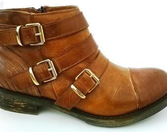 Cognac leather BOOTS