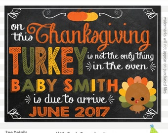 Thanksgiving Pregnancy Announcement | Pregnancy Reveal Sign | Chalkboard Sign | Printable Chalkboard Sign | Design PA16009