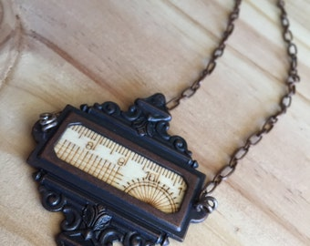 Statement Necklace, Industrial Necklace, Steampunk necklace, Wood Necklace