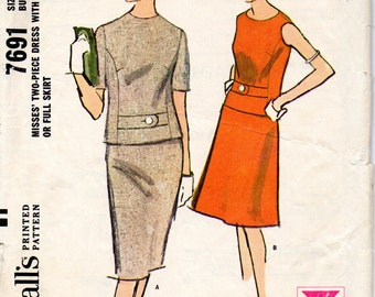 McCall's vintage 1960s sewing pattern - two-piece dress - Size 12