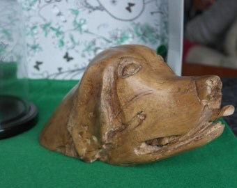 Vintage Large Bespoke Carved Maple Treen Labrador/Setter/Golden Retriever Dogs Head Sculpture Art Object Only One Of It's KIND Anywhere***
