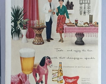 1958 Miller High LIfe Beer Print Ad