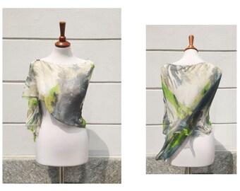 Silk shawl/Bridal shrug/Boho headscarf/Boho shrug/Multicolor/Green-grey/Elegant shawl/Asymmetrical shawl/Triangular shawl