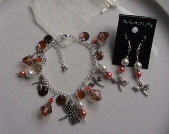 Dragonfly charm bracelet, dragonfly bracelet, dragonfly earrings, dragonfly jewellery, jewellery set, pearl bracelet, gift for her