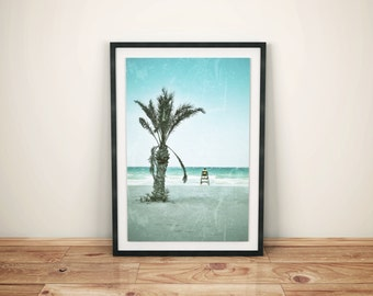 Beach Art, Beach Decor, Modern Coastal Decor, Beach Photo, Beach Print, Coastal Photo, Blue Aqua, Beach House Decor, Palm Tree, Baywatch Art