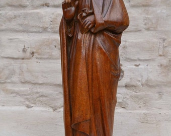 Statue Religious Gothic Madonna, Antique French Hand Carved Wood, Oak #4666