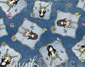 Woven Fabric - Gorjuss On Top of the World Girl Toss Dark Blue - Fat Quarter Yard +
