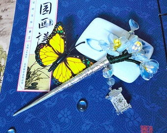 Chinese Opalescent Handmade Glass Flower Hair Stick Hair Pin With Silver Filigree Lantern