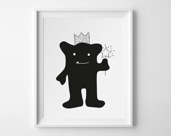Little Princess, Cute Little Monster, Instant Download, Downloadable Print, Digital Print, Kids Wall Art, Baby Girl Nursery Print