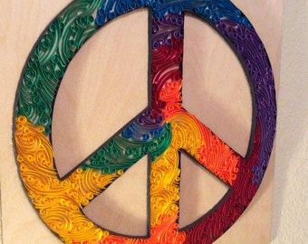 Made to Order Quilled Tie Dye Peace Sign Wall Art